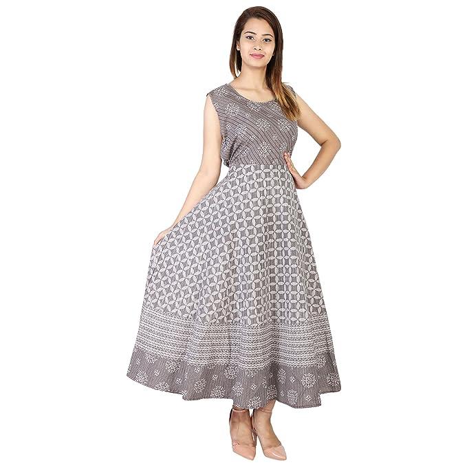 Negen Women s Cotton Jaipuri Printed Kashish Grey Long Maxi Dress (Grey  ... ff6d0aaff