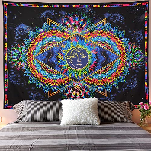 Galoker Trippy Tapestry Sun and Moon Tapestry Colorful Bohemian Mandala Hippy Tapestry Psychedelic Celestial Tapestry Wall Hanging for Home Decor H70.8 W92.5 inches