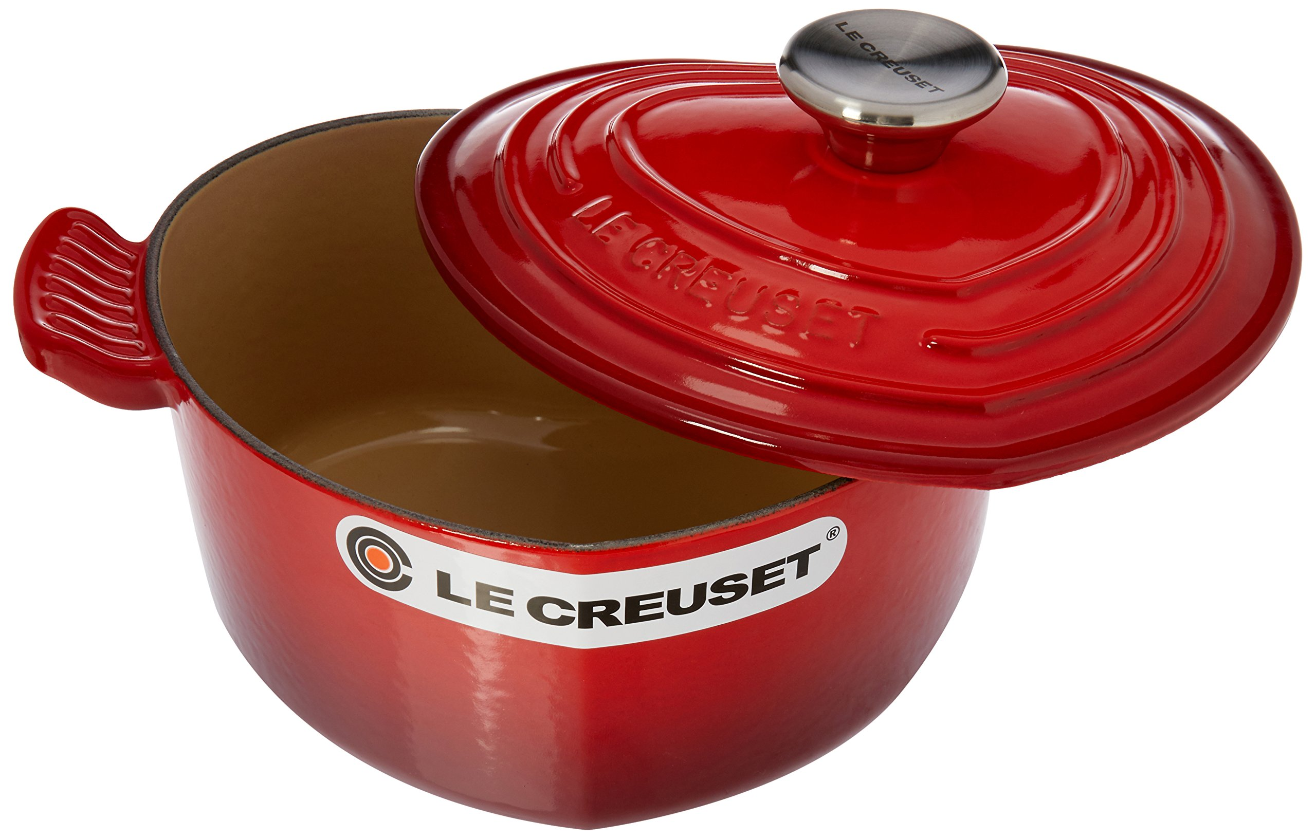 Le Creuset L25C1-0267S Enameled Heart with Stainless Steel Knob, Cerise Cast Iron Dutch Oven 2 Quart
