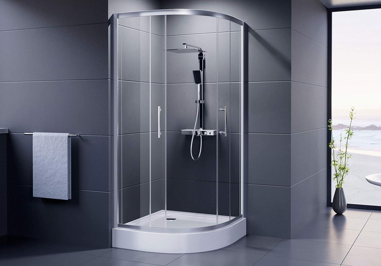 Dusar cabinas de ducha Economy redondo ducha 90 x 90 x 185 cm altura de ducha Cuadrante Radius 550 mm semicírculo ducha ducha redonda con vidrio de seguridad templado 90 o 900