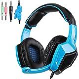 SADES SA920 Pro Stereo PC Surround Sound Gaming Headset cuffia con microfono per PS4 Xbox one PC Mac iPhone Smartphone (blu)