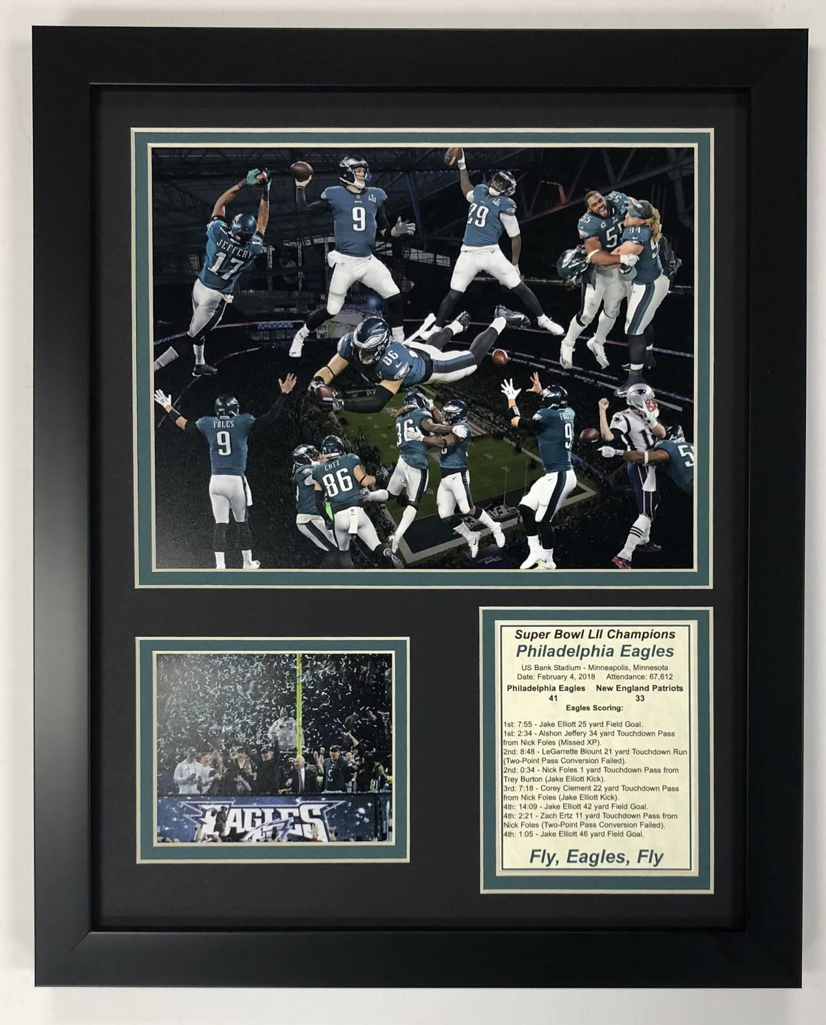 Legends Never Die Philadelphia Eagles Super Bowl 52 NFL Champions Collectible 12x15 Framed Photo Collage Wall Art Decor
