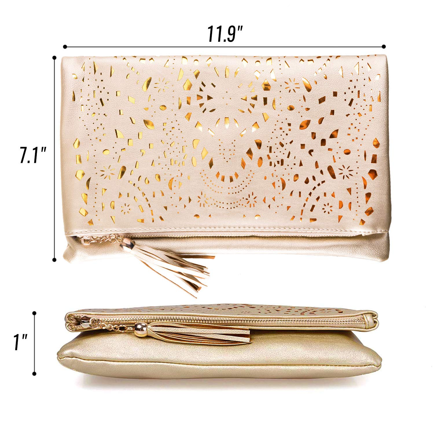 BMC Womens Glimmering Gold Perforated Cut Out Pattern Gold Accent Background Foldover Pouch Fashion Clutch Handbag by b.m.c (Image #6)