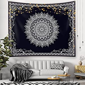 Starland Wall Tapestry,Black and White Floral Tapestry with Dotted Daisy,Wall Hanging Tapestry for Bedroom Aesthetic as Wall Art and Home Decor for Bedroom, Living Room, Dorm Decor (51.2Wx59.1L)