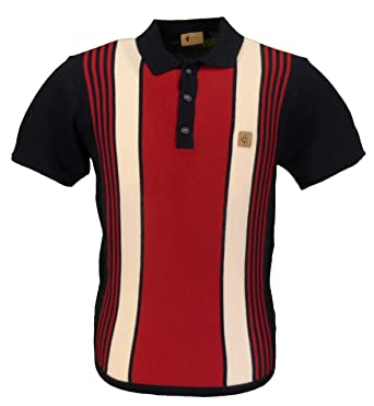 Gabicci Vintage Searle S S Navy Multi Stripe Knitted Polo … (XX Large) 6e56be43e