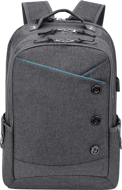 KINGSLONG Laptop Backpacks for Travel College Business Men Women 17 Inch Grey