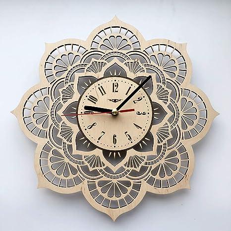 Amazon Com Flower Mandala Wall Clock Eco Wood Unique Gifts Ideas Original Presents Home Decor And Wall Art Design For Living Room Kitchen Bedroom Kids Silent Quartz Movement And Autonomous