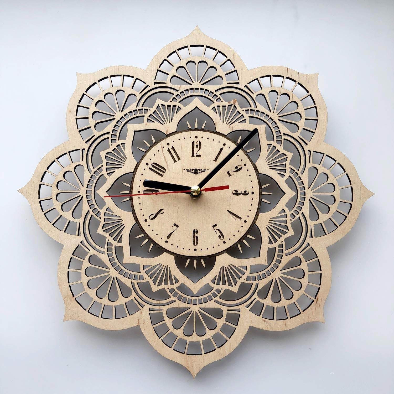 Flower Mandala Wall Clock Eco Wood Unique Gifts Ideas Original Presents Home Decor And Wall Art Design For Living Room Kitchen Bedroom Kids