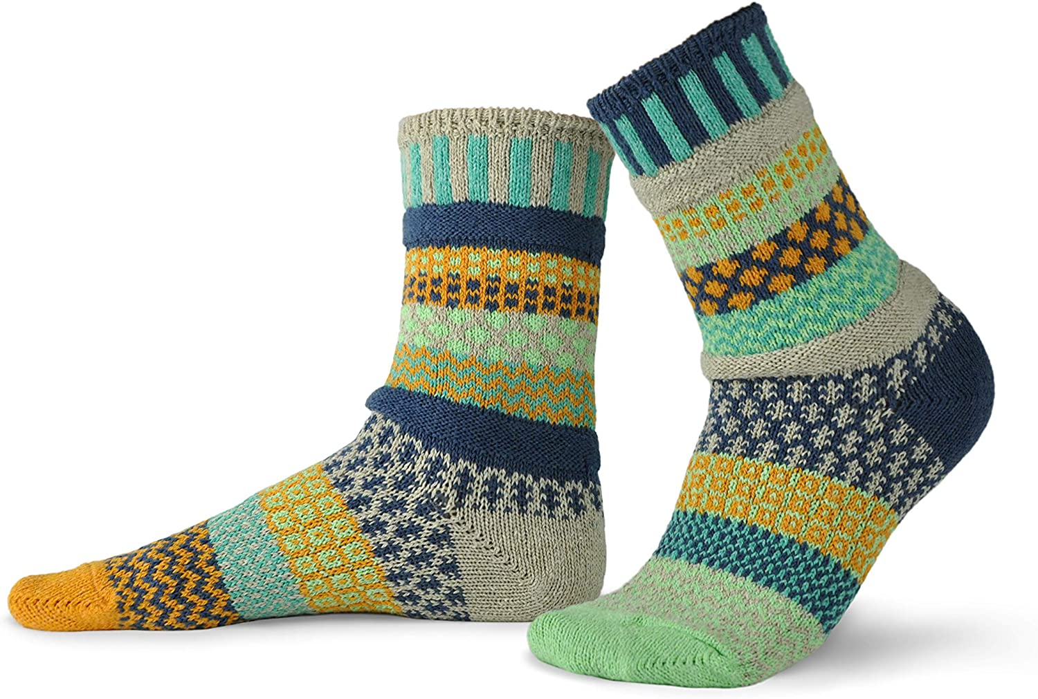 Solmate Socks - Mismatched Crew Socks; Made in USA; Aloe Large