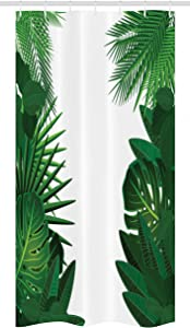Ambesonne Leaf Stall Shower Curtain, Exotic Fantasy Hawaiian Tropical Palm Leaves with Floral Graphic Artwork Print, Fabric Bathroom Decor Set with Hooks, 36