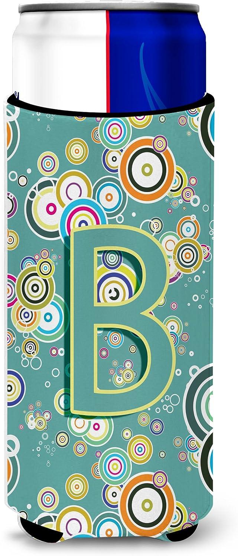 Caroline's Treasures CJ2015-BMUK Letter B Circle Circle Teal Initial Alphabet Ultra Beverage Insulators for slim cans, Slim Can, multicolor