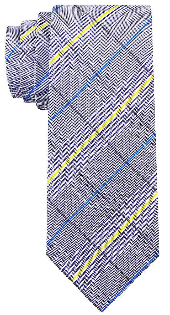 Houndstooth Plaid Ties for Men - Woven Necktie - Black w/Yellow