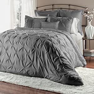 Unique Home 8-Piece Lucilla Pinch Pleat Comforter Sets Bed in a Bag (King, Grey)
