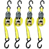 Ratchet Tie Down Strap – 4 Pack – 1 Inch – 15 Feet – 500 LBS Working Load – 1500 LB Break Strength – Cam buckle Alternative – Cargo Straps Perfect for Moving Appliances, Lawn Equipment, Motorcycle, ATV by Everest