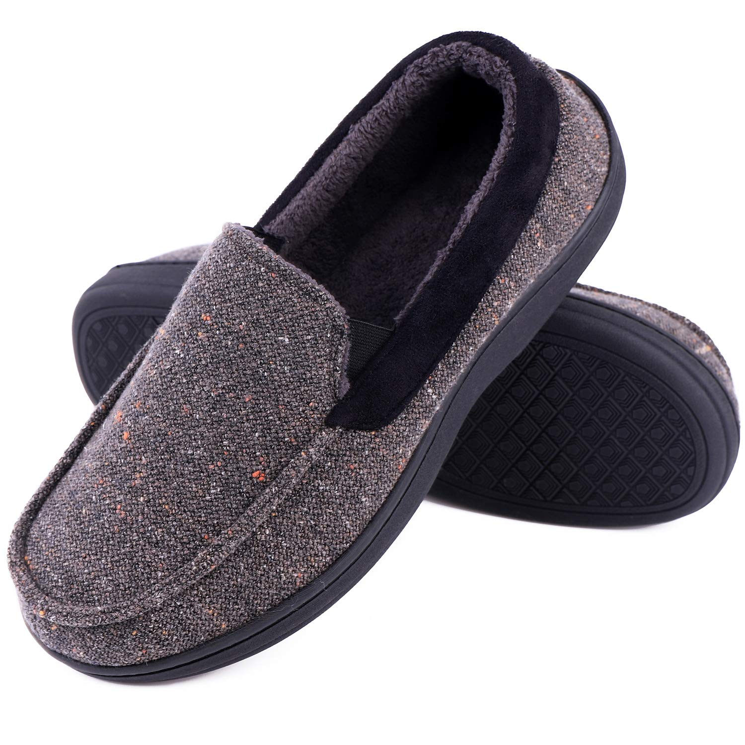 LongBay Men's Memory Foam Moccasin Slippers Plush Fleece House Shoes in Indoor/Outdoor Loafer Style (12 D(M) US, Gray)