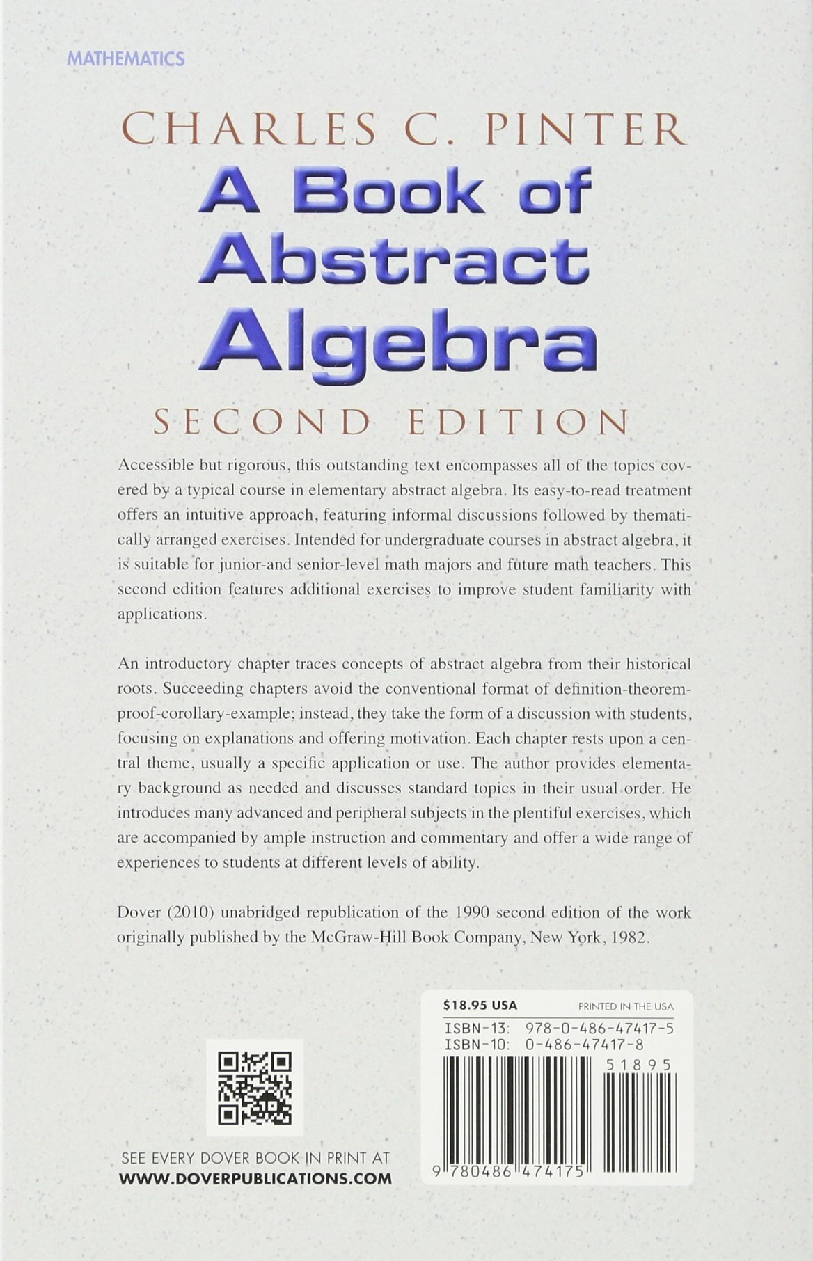 amazon a book of abstract algebra second edition dover books on