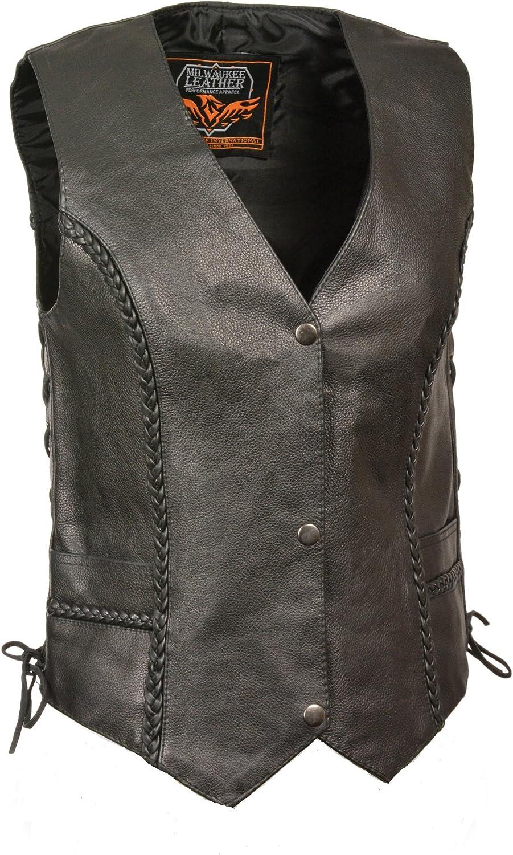 Milwaukee Women's Braided Side Lace Leather Vest (Black, 5X-Large) 81GE6qZjcGL