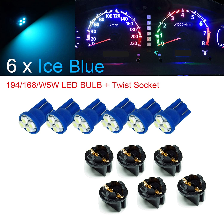 12V White PA 20x T10 168 194 Led instrument Panel Dash Light Bulb 1//2 Twist Lock Socket