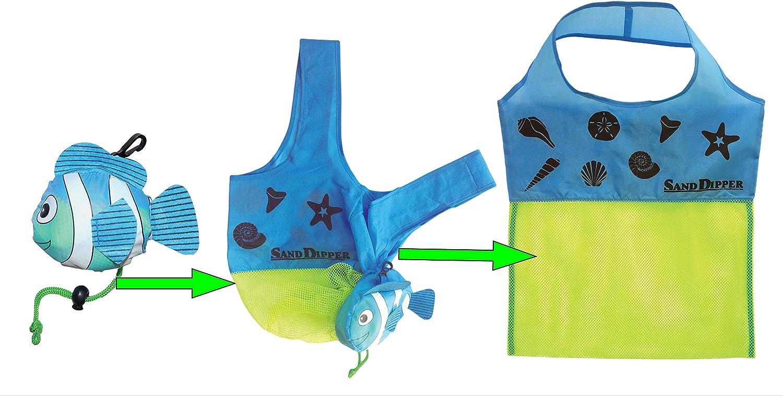 Sand Dipper Lightweight Expandable Mesh Beach Tote Brand | Convenient Beach Water Park Summer Bag | Fish