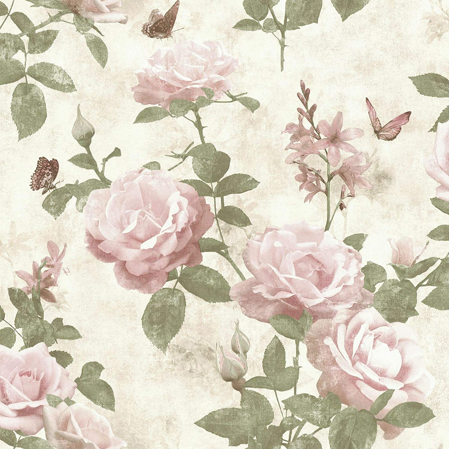 Portfolio Vintage Rose Wallpaper Pink Natural Rasch 215007 Amazon Co Uk Diy Tools