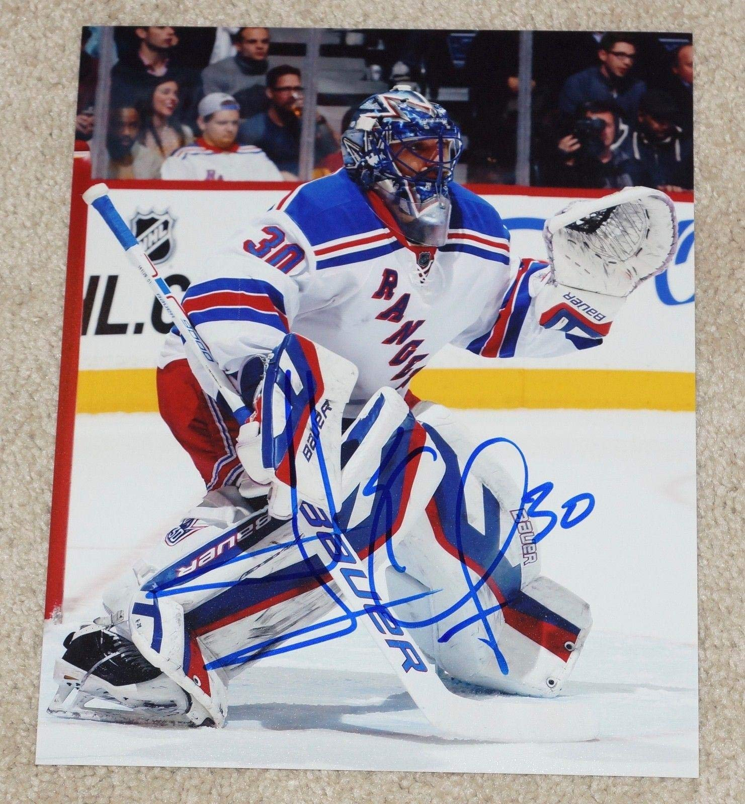 Henrik Lundqvist Signed Photo NY 8x10 KING Autographed NHL Photos