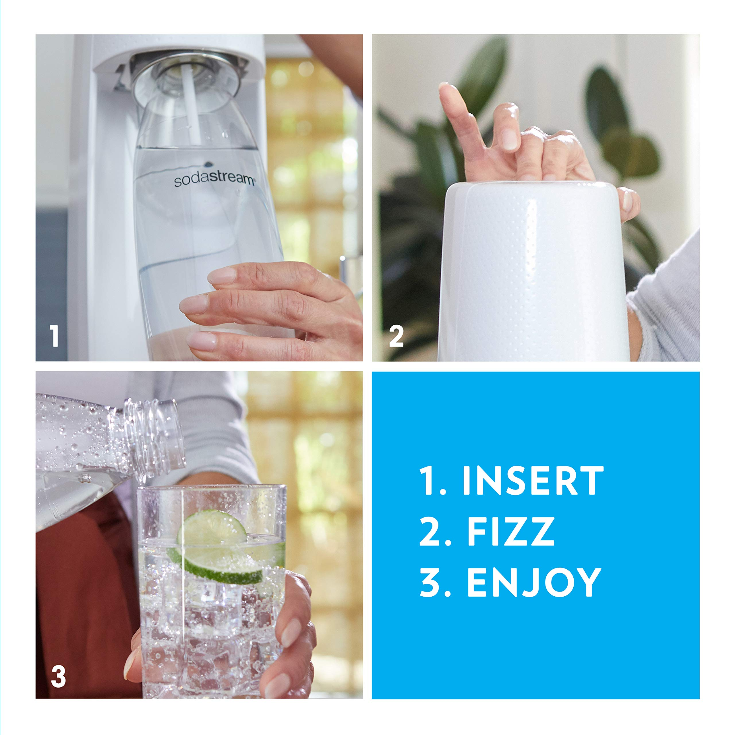SodaStream Jet Sparkling Water Maker Bundle (Silver) with CO2, BPA free Bottles, and 0 Calorie Fruit Drops Flavors by sodastream (Image #3)
