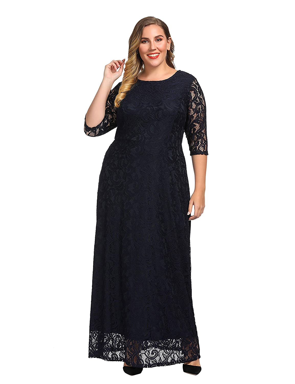 7e96a90bb8fe Chicwe Women's Plus Size Stretch Lace Maxi Dress - Evening Wedding Cocktail  Party Dress at Amazon Women's Clothing store: