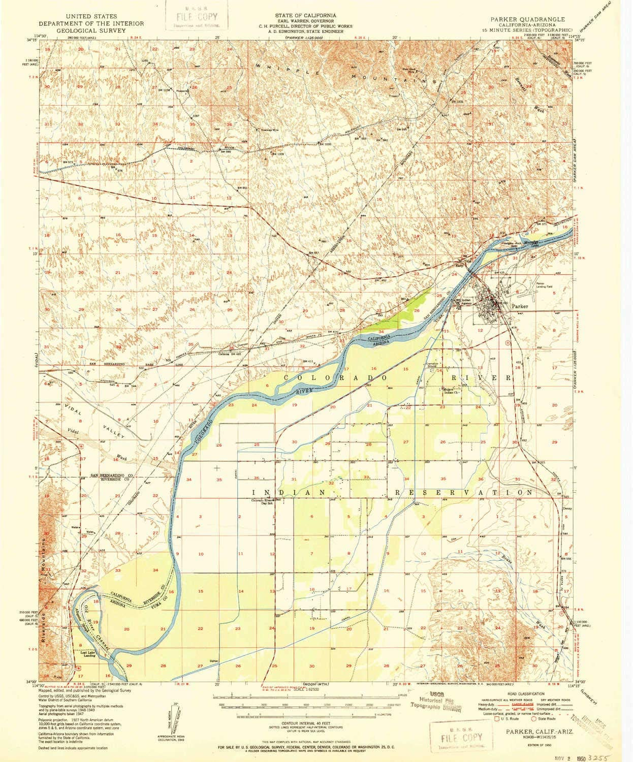 YellowMaps Parker AZ topo map, 1:62500 Scale, 15 X 15 Minute, Historical, 1950, 20.7 x 17.2 in 81GEBHN4gDL