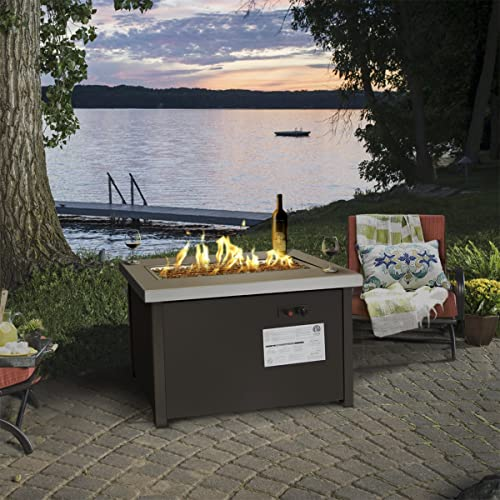 Barton Outdoor Propane Gas Fire Pit Patio Garden Flame w/Firepit Heater Weather Cover ETL