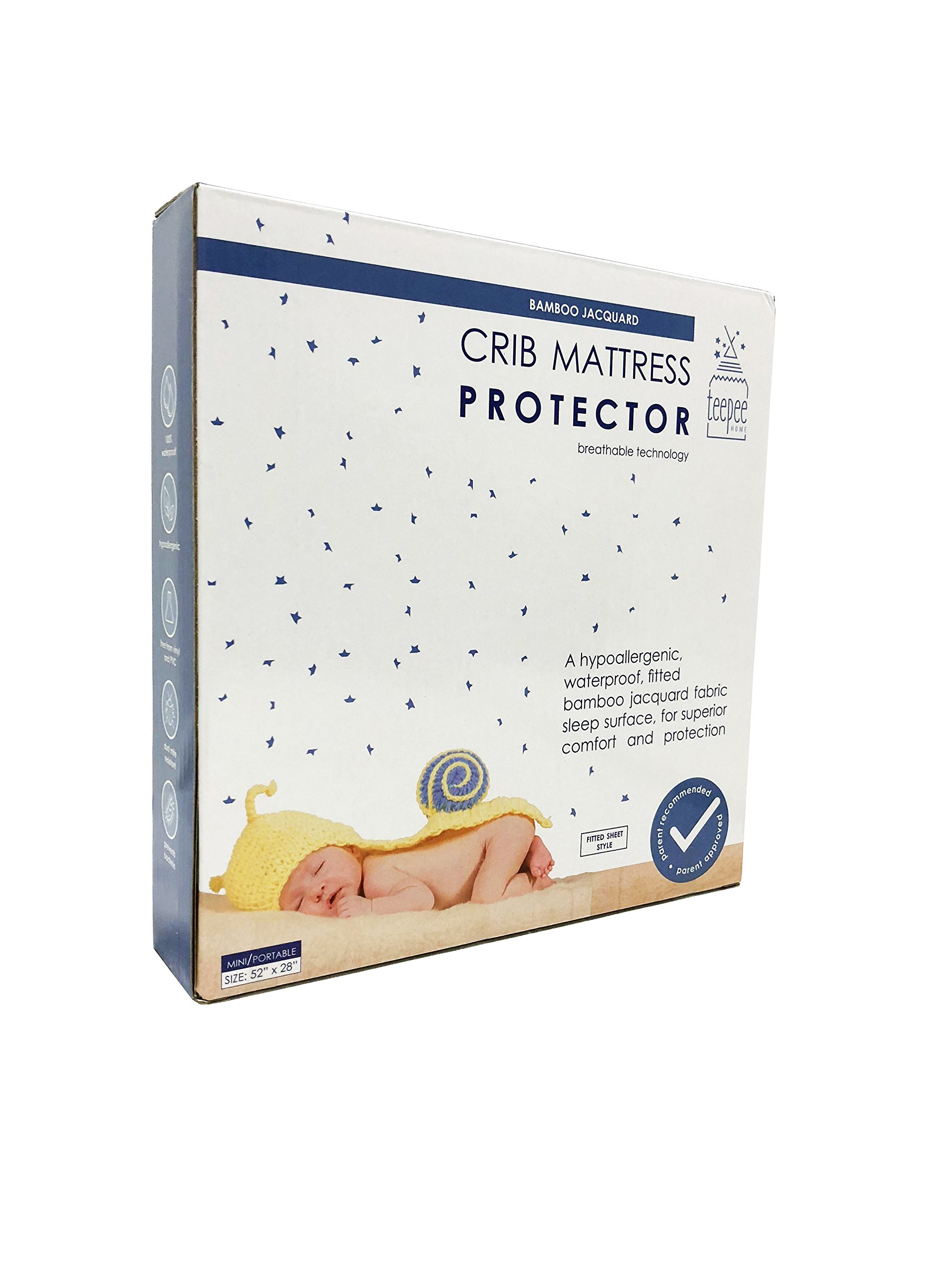 Waterproof Crib Mattress Protector -100% Waterproof, Hypoallergenic, Premium Bamboo Jacquard Fabric, Dust Mite Resistant, Mini/Portable