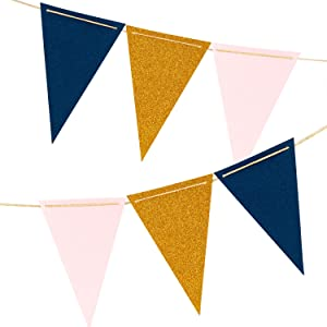 10 Feet Paper Pennant Party Banner, Triangle Flags Bunting, Paper Triangle Garland for Wedding, Nursery Wall Decor, Baby Shower, Thanksgiving Decorations (Gold Glitter, Pink, Navy Blue) 18PCS