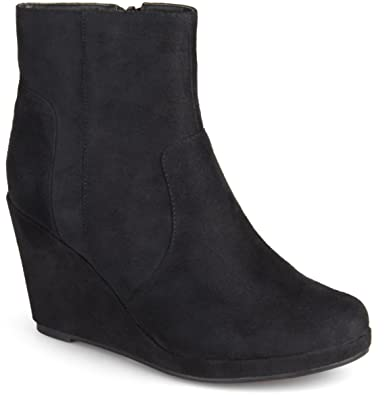 Amazon.com | Journee Collection Women's Faux Suede Wedge Booties ...