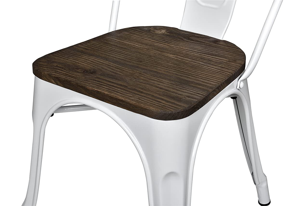 DHP Fusion Metal Dining Chair with Wood Seat, Set of two, White