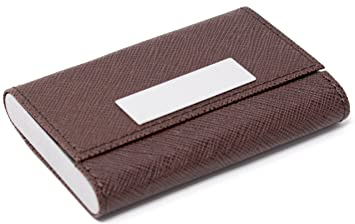 Amazon slim genuine brown with small metal strip saffiano slim genuine brown with small metal strip saffiano leather double sided business card holder colourmoves
