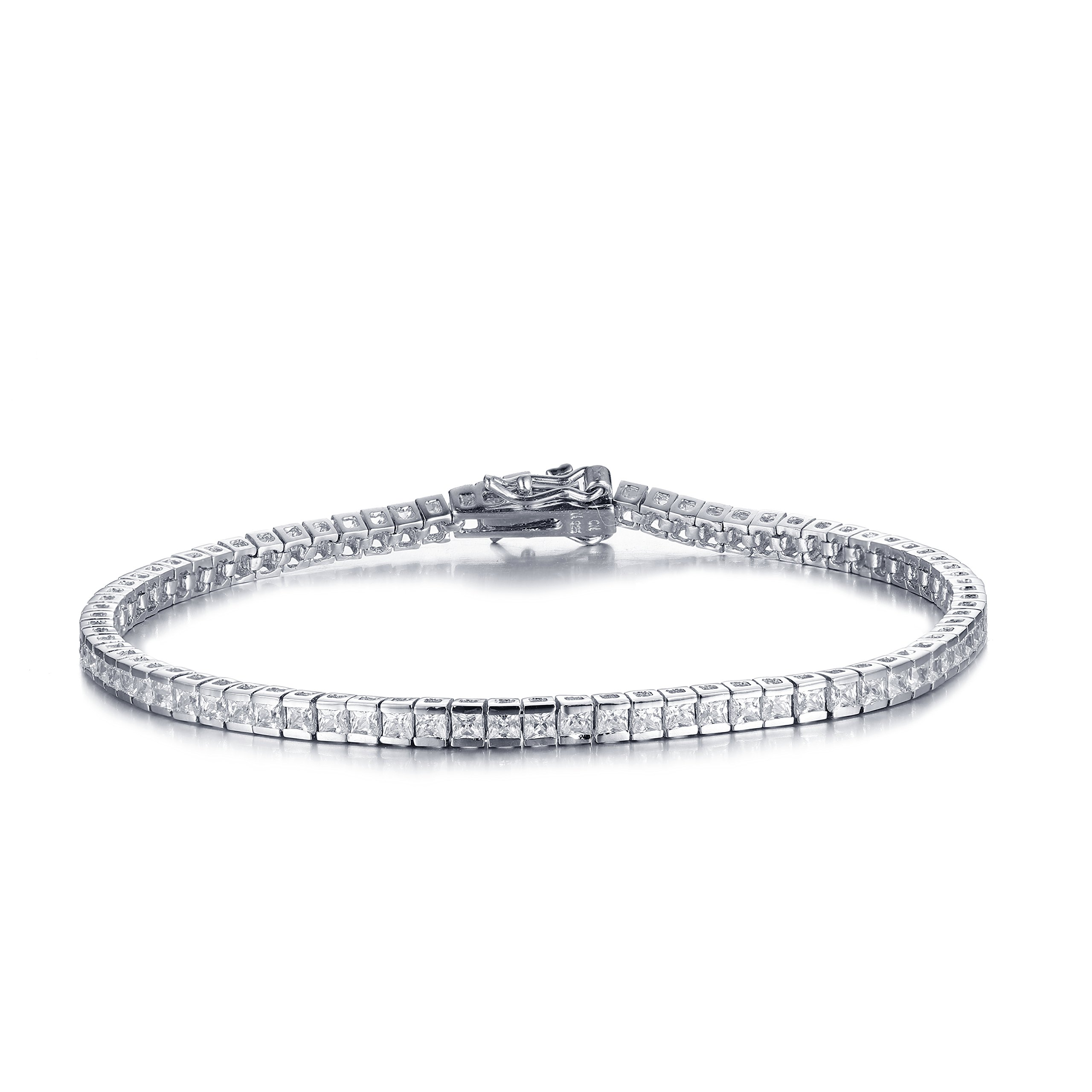 Mia Sarine Womens Cubic Zirconia Channel Set Tennis Bracelet in Rhodium Plated Sterling Silver