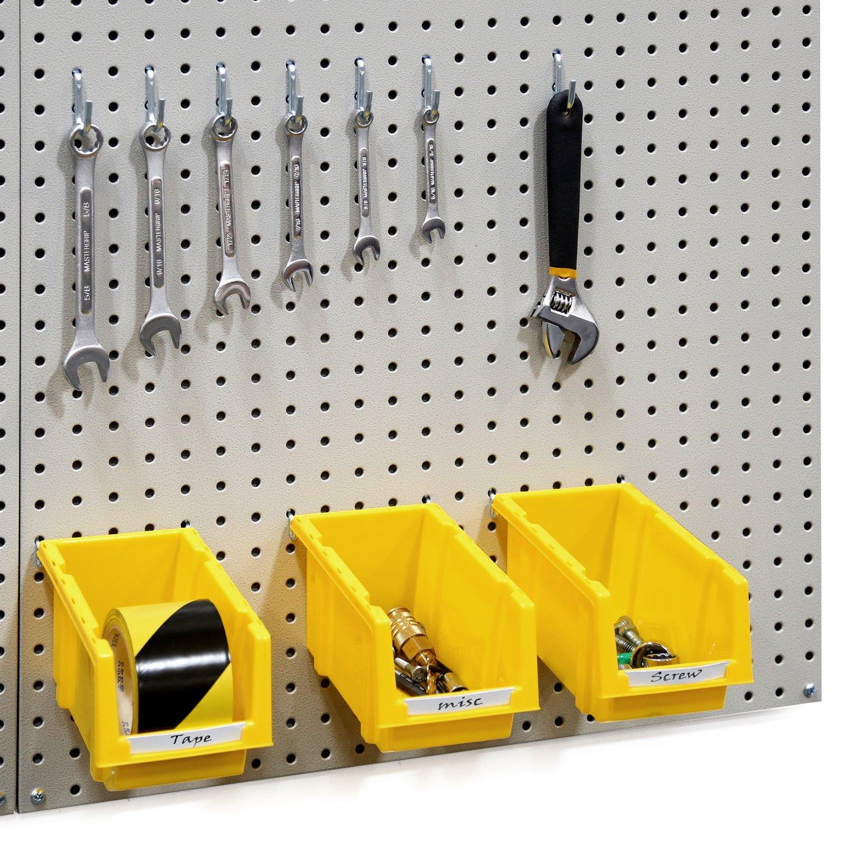 Seville Classics UltraHD 24'' X 48'' Steel Pegboard Set and 23-Piece Peg Hook Assortment with 6 Bins