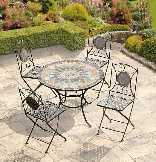 Parcel in the Attic - Conjunto de muebles de jardín (hierro fundido, incluye 1 mesa y 4 sillas plegables), diseño de mosaico: Amazon.es: Jardín