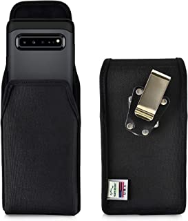 product image for Turtleback Belt Clip Case Designed for Samsung Galaxy S10 5G (2019) Vertical Holster Black Nylon Pouch with Heavy Duty Rotating Belt Clip, Made in USA