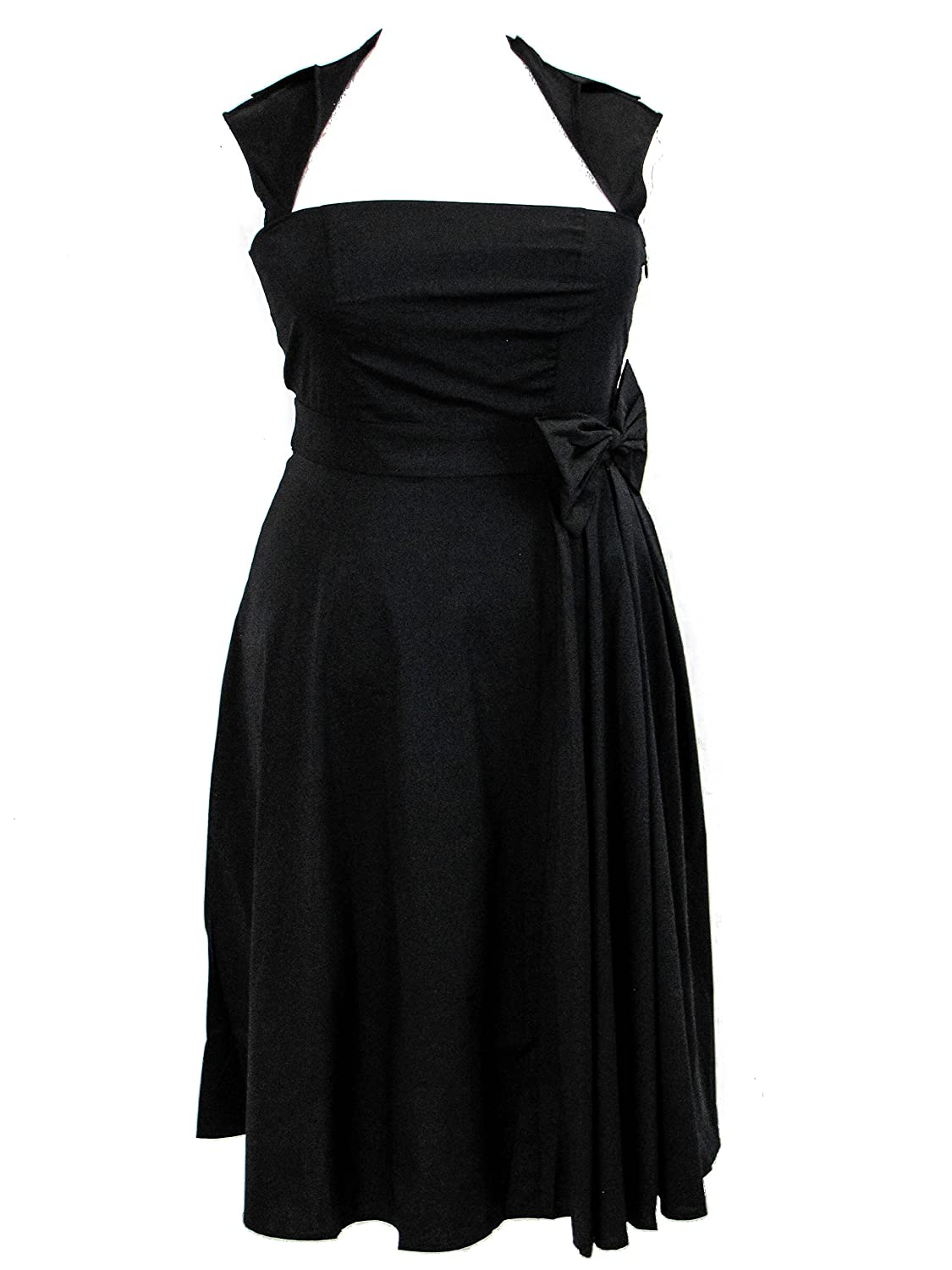 Plus Size Black Retro Rockabilly Swing Belted Pleat Dress 1X 2X 3X 4X