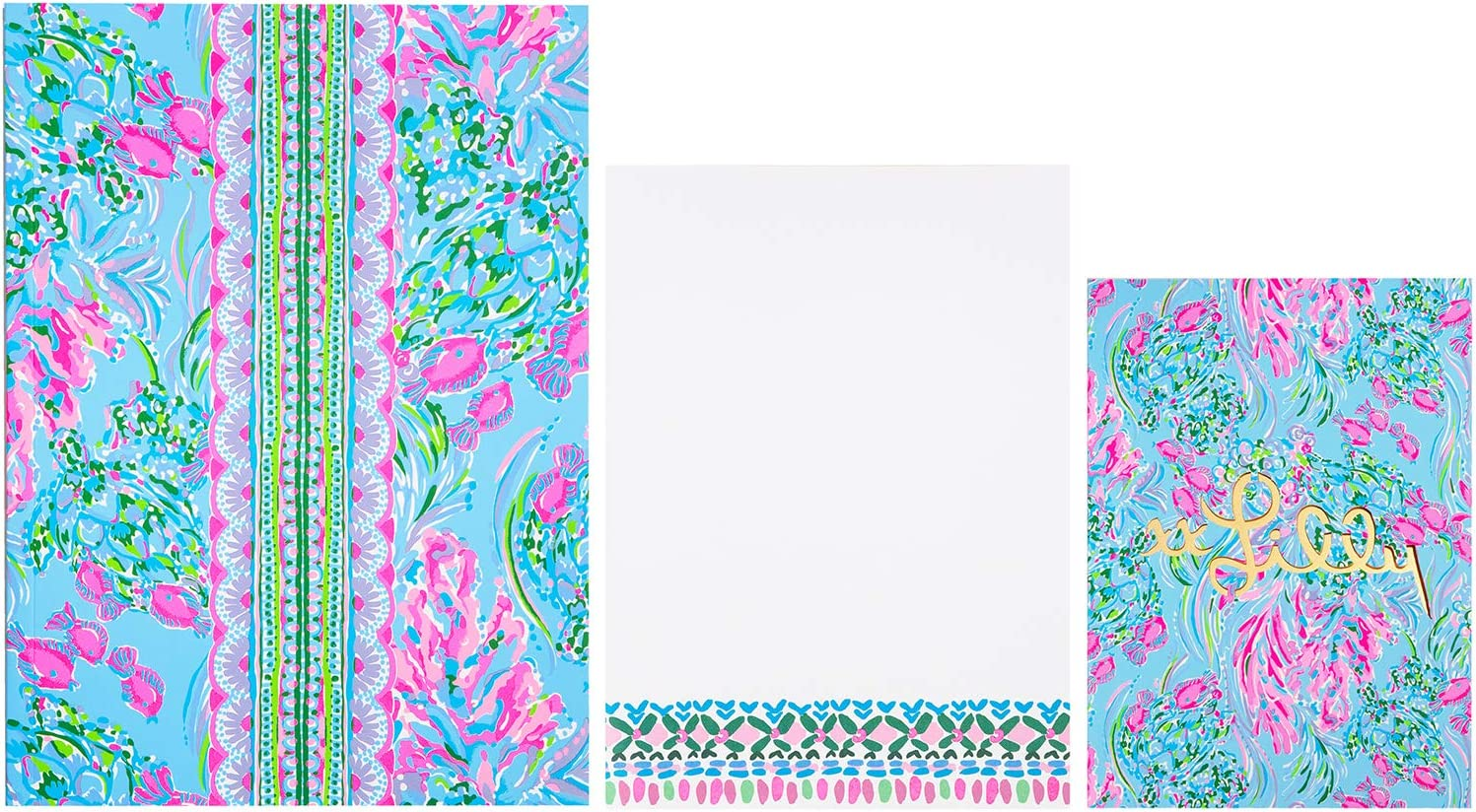 Lilly Pulitzer Notebook and Notepad Set of 3, Includes Large and Small Lined Notebooks and Medium Blank Desktop Notepad, Best Fishes