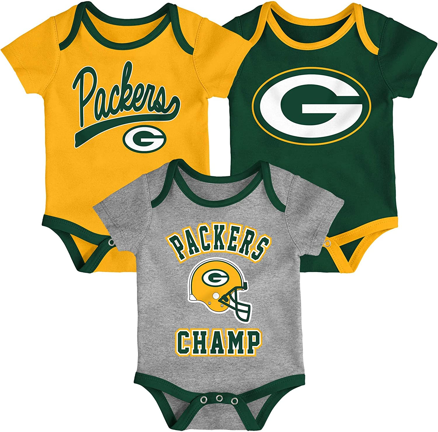 Outerstuff Infant Green Bay Packers Gold//Green//Heathered Gray Champ 3-Piece Bodysuit Set