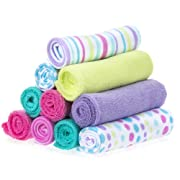 Spasilk 10 Piece Soft Terry Washcloth, Aqua Bubbles