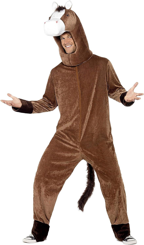 Smiffys-41037 Traje de Caballo, con Body y Capucha, Color marrón, Tamaño único (Smiffy'S 41037)