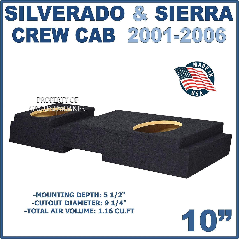 Fits Chevy Silverado /& Gmc Sierra Crew-Cab 2001-2006 10 Dual Sealed Subwoofer Enclosure