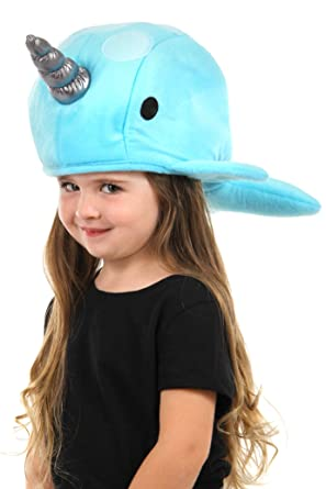 8735f2aa6f9 Amazon.com  elope Blue Narwhal Plush Hat  Clothing