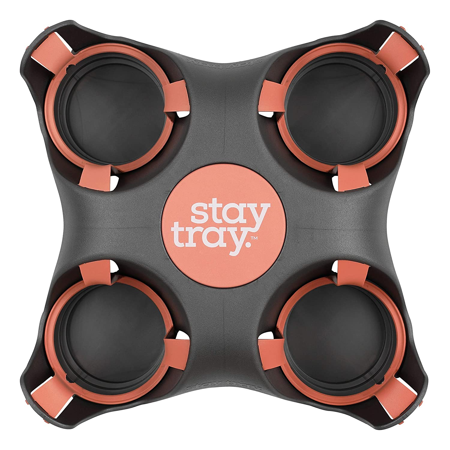 Reusable Drink Carrier by Stay Tray. Drink Holder Made from 100% Recycled Plastic. Portable & Very Sturdy Cup Carrier I Drink Caddy I Drink Tray I Coffee Cup Holder. Great Drink Carrier for Delivery.