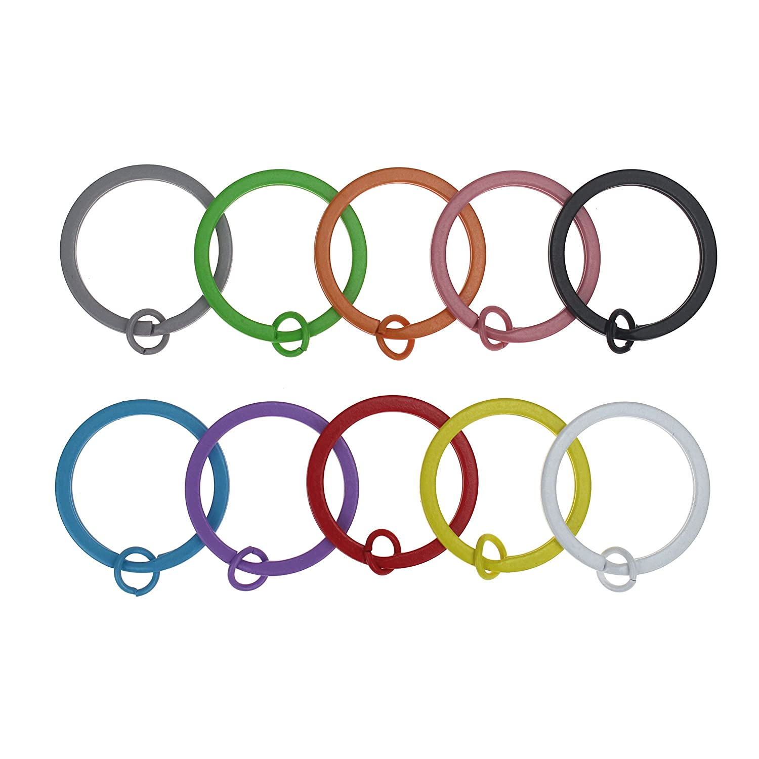Udekit 25mm Colorful Split Metal Key Ring for Keys Organization (50 Pieces for 10 Colors, Each Color with 5 Pieces) Shuntiantai