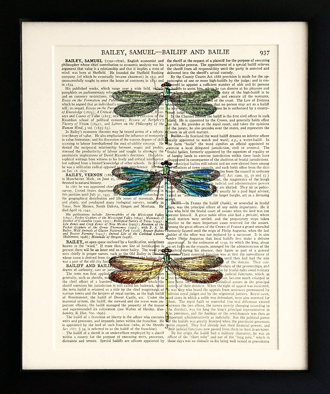 UNFRAMED Vintage Wall Art Art Print on Old Antique Book Page 3 Moths