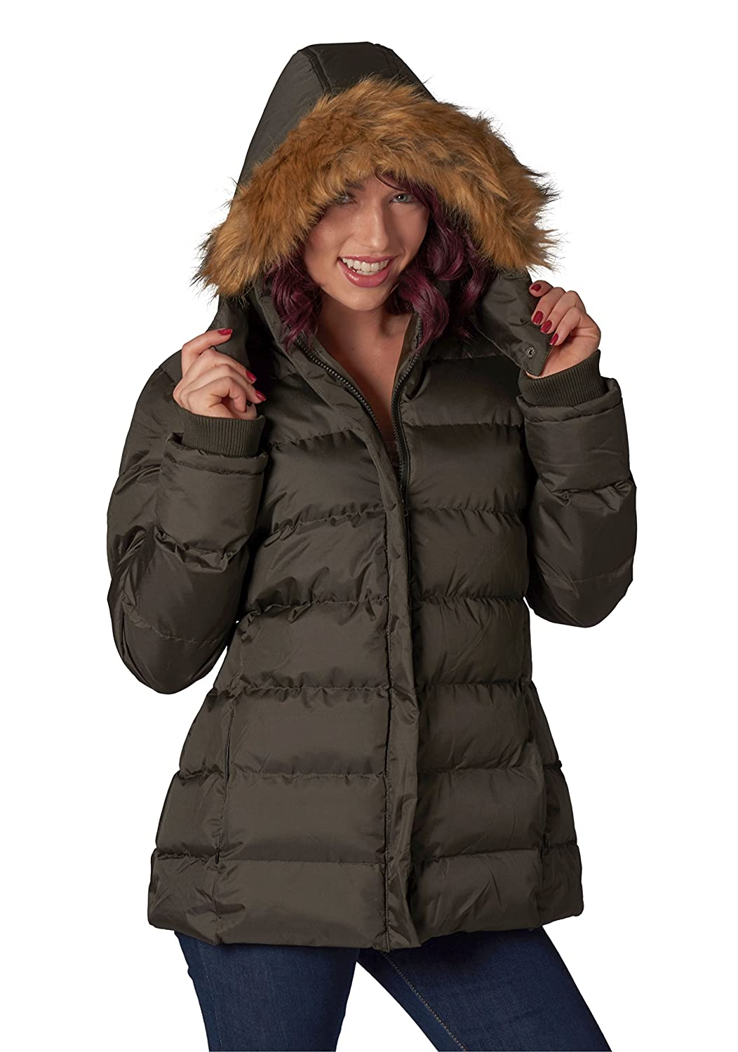 U2Wear Women's Puffer Coat with Faux-Fur Deatchable Hood 2417