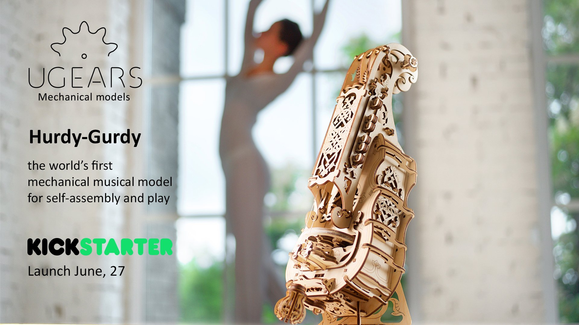 UGears Mechanical Models 3-D Wooden Puzzle - Mechanical Hurdy-Gurdy Musical Instrument by UGEARS